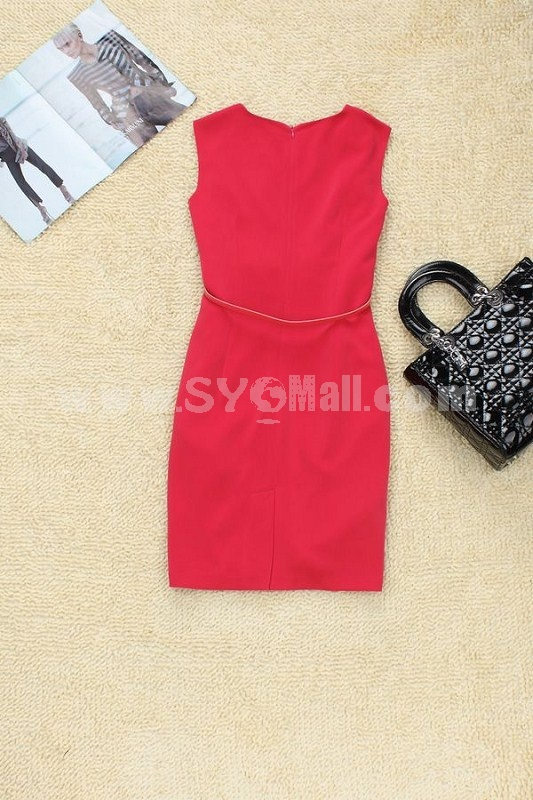 2013 New ArrivalVintage London Style Elegant Sleeveless Red Color Slim Dress Evenning Dress