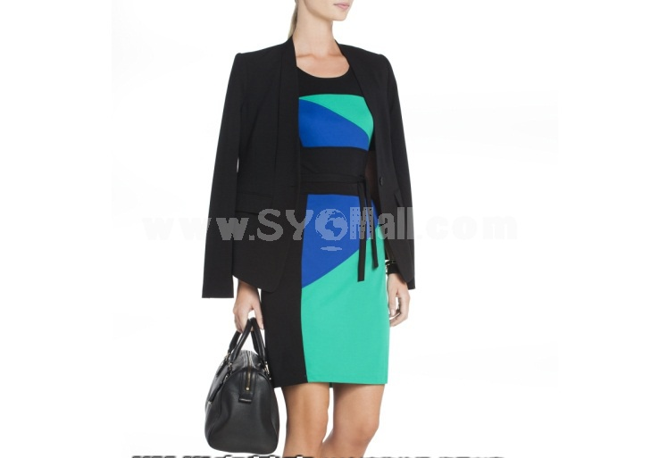 2013 New Arrival OL Style Color Contrast Slim Dress Evenning Dress KM801