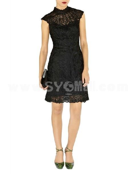 2013 New Arrival Vintage Court Style Elegant Embroidery Slim Dress Evenning Dress DM121