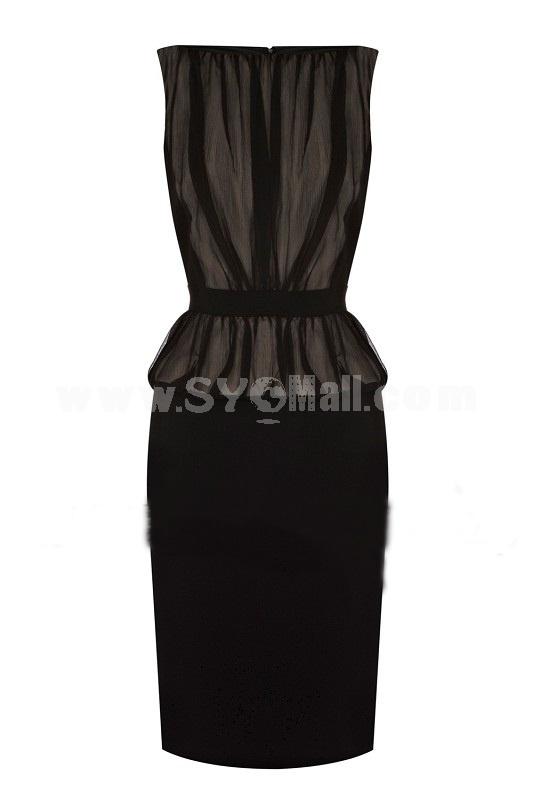 2013 New Arrival Sexy Black Hi-rise Drape Slim Dress Evening Dress
