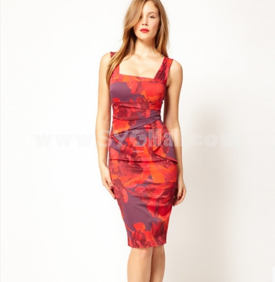 2013 New Arrival Sexy Flower Printing Slim Dress Evening Dress Party Dress DP123