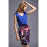 Wholesale - Exra-large Size Color Painting Slim Dress Evening Dress DN147