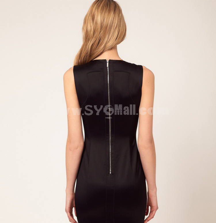 2013 New Arrival Round Neck Sleeveless Extra-size Slim Dress Evening Dress DN228