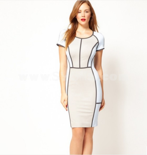 KM 2013 New Arrival Elegant Short Sleeveless Lines Pattern Slim Dress Evening Dress DP086
