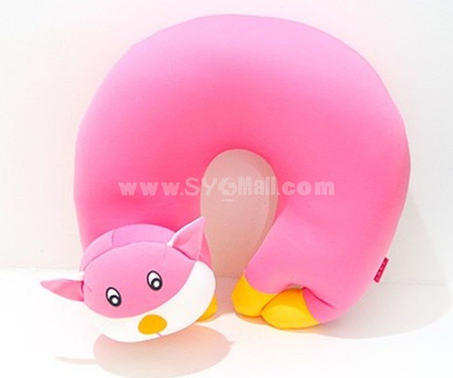 Comfort Foam Particles U Neck Travel Pillow Cute Cartoon Pattern - Pink Cat