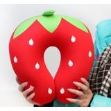 Wholesale - Comfort Foam Particles U Neck Travel Pillow Cute Cartoon Pattern - Red Strawberry