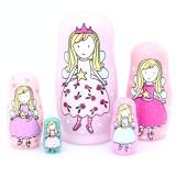 wholesale - 5pcs Russian Nesting Dolls Pink Angel Girls Handmade Wooden Russian Doll