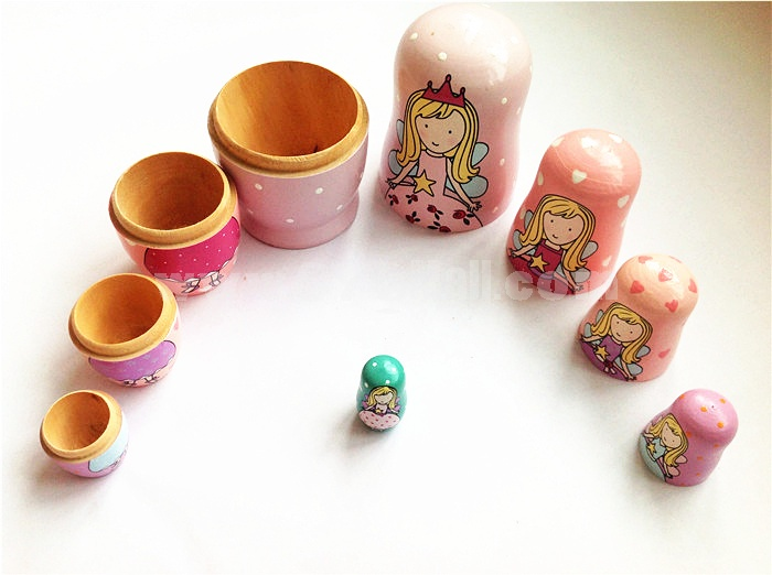 5pcs Russian Nesting Doll Handmade Wooden Different Cute Girl Pattern