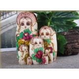 wholesale - 7pcs Handmade Wooden Russian Nesting Doll Toy Flower Girl