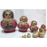 wholesale - 10pcs Handmade Wooden Russian Nesting Doll Toy Belly Girl