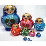 wholesale - 10pcs Handmade Wooden Russian Nesting Doll Toy Golden Girl