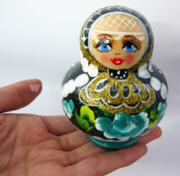 5pcs Handmade Wooden Russian Nesting Crystal Paint Doll Toy