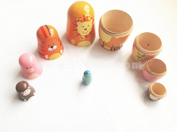 5pcs Russian Nesting Doll Handmade Wooden Cute Cartoon Animals Pattern