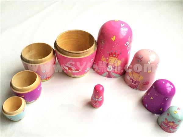 5pcs Russian Nesting Doll Handmade Wooden Cute Cartoon Angel Pattern
