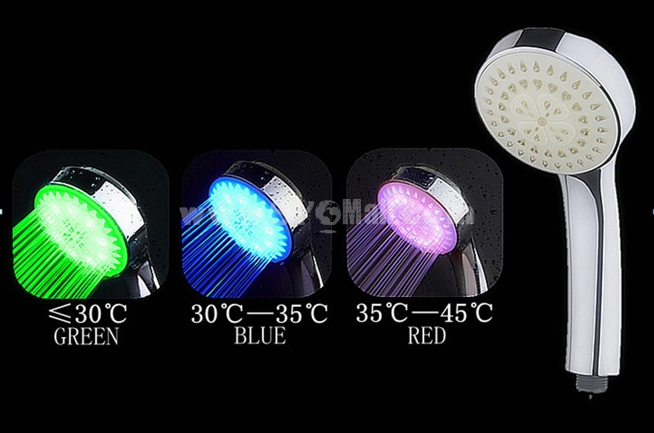 Romantic Bright Color LED Lights Shower Head Bathroom Showerhead HY-1001W (Temperature Control Changing Color)