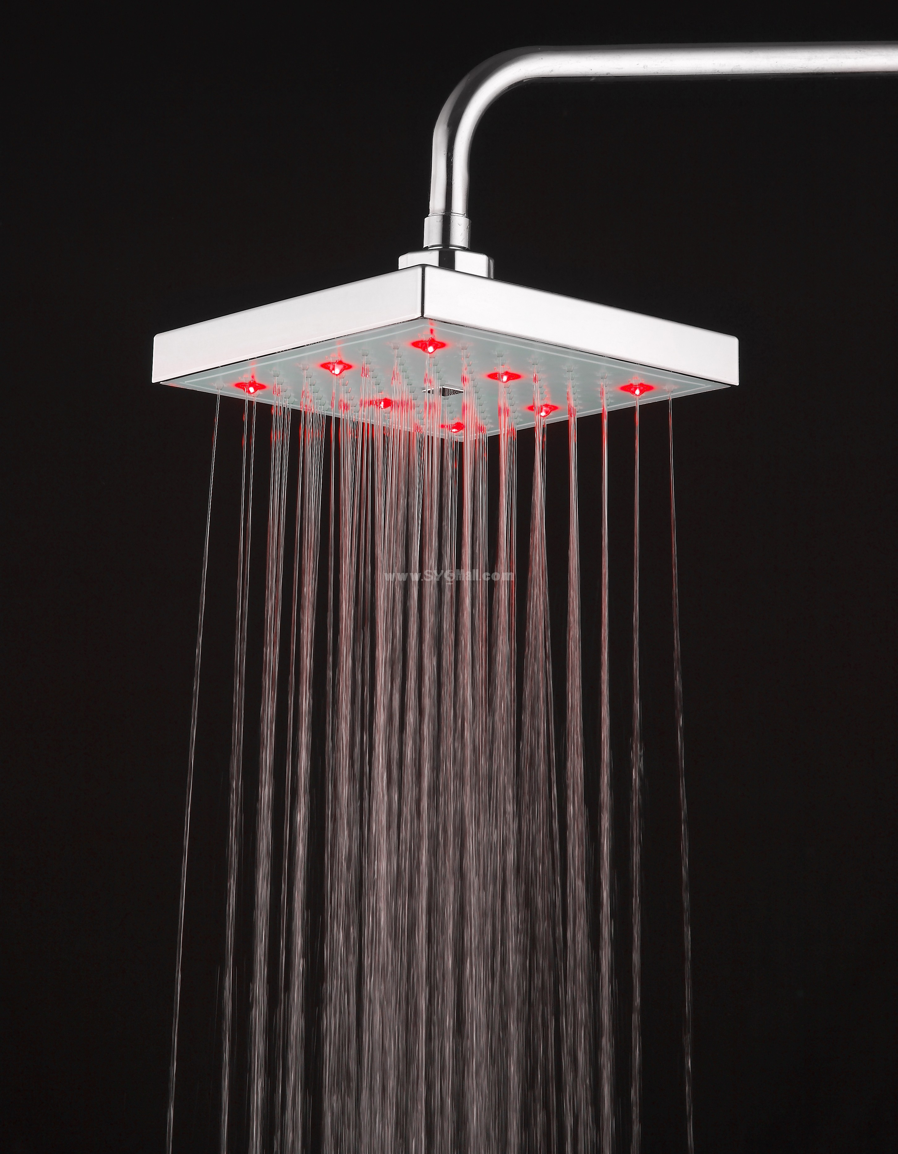 Romantic Bright Color LED Lights Top Spray Shower Bathroom Showerhead HY-3001W (Temperature Control Changing Color)