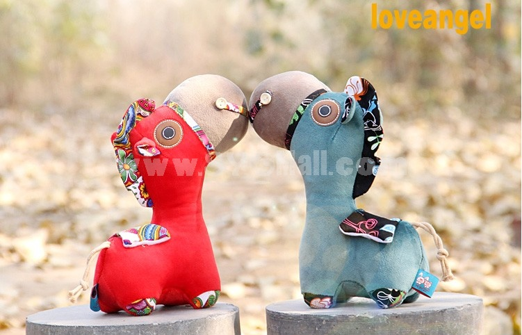 "36cm/14.2"" Chinese Style Embroidery Pony Shaped Plush Toy"