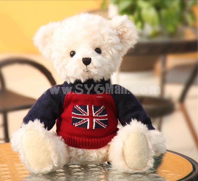 "35cm/13.8""Seating Height Union Jack Pattern Bear Plush Toy"