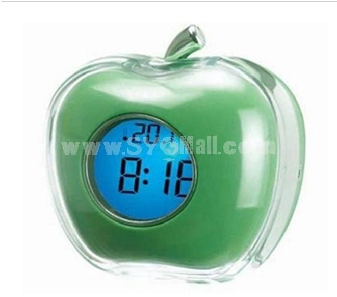 Apple Design Desktop Digital Talking Alarm Clock Thermometer Green