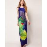Wholesale - KM Peacock Blue Printing Long Dress