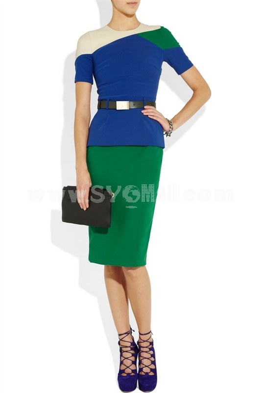 Blue & Green Color Joint Short Sleeve Lady Midium Dress Evening Dress