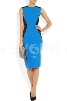 Blue & Black Color Joint Sleeveless Midium Dress Evening Dress