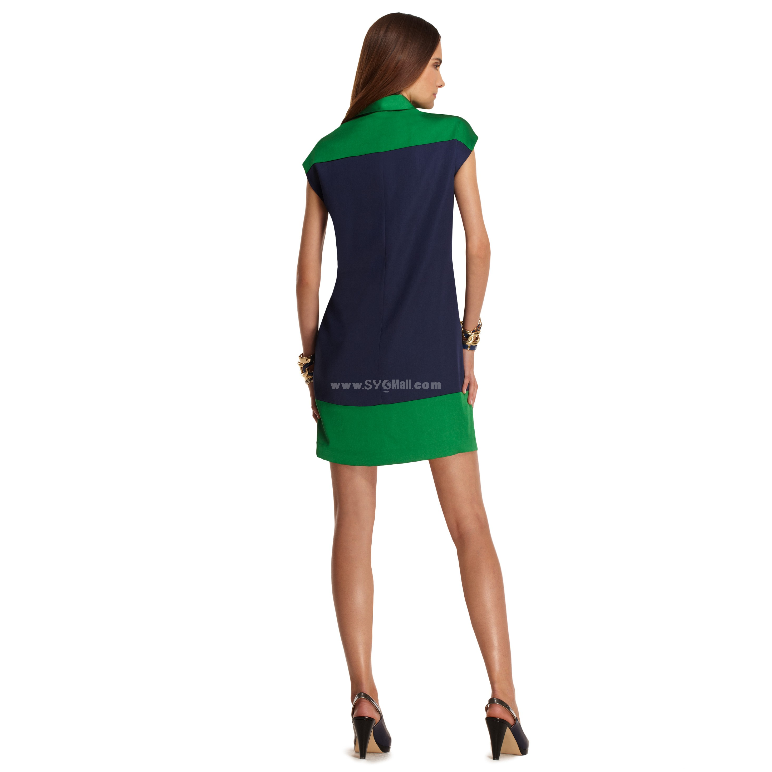 Plain Collar Color Contrast Short Sleeve Dress Evening Dress