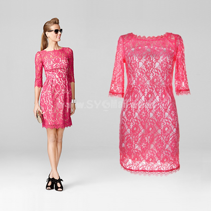 Seventh Sleeve Lace Embroidery Dress Evening Dress