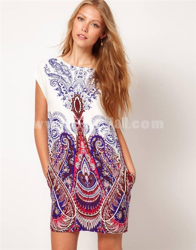 KM Totem Printing Short Sleeve Round Neck Dress Evening Dress