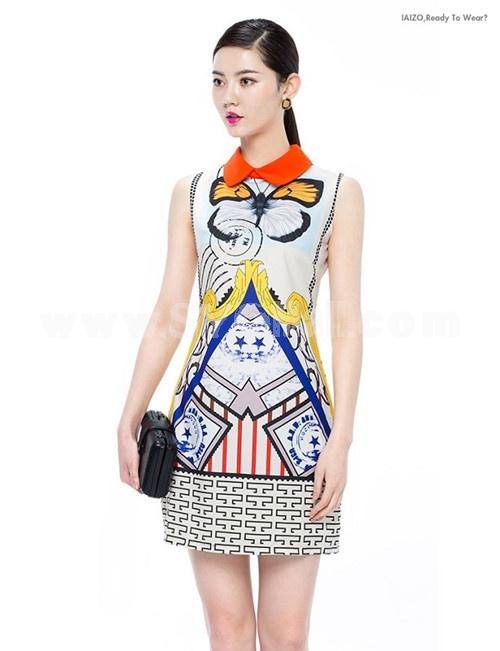 KM Polo Collar Flower Painting Dress Evening Dress