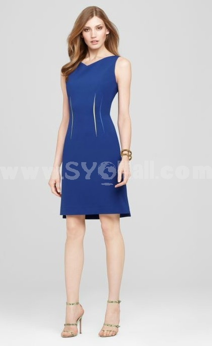 KM V-neck Unique Design Solid Color Dress Evening Dress