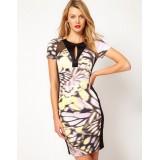 Wholesale - KM Butterfly Priniting Short Sleeve Dress Evening Dress