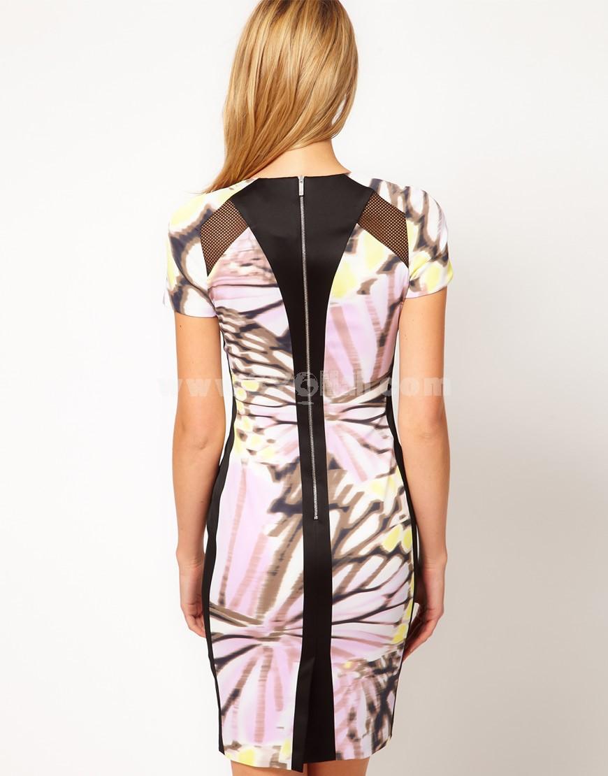 KM Butterfly Priniting Short Sleeve Dress Evening Dress