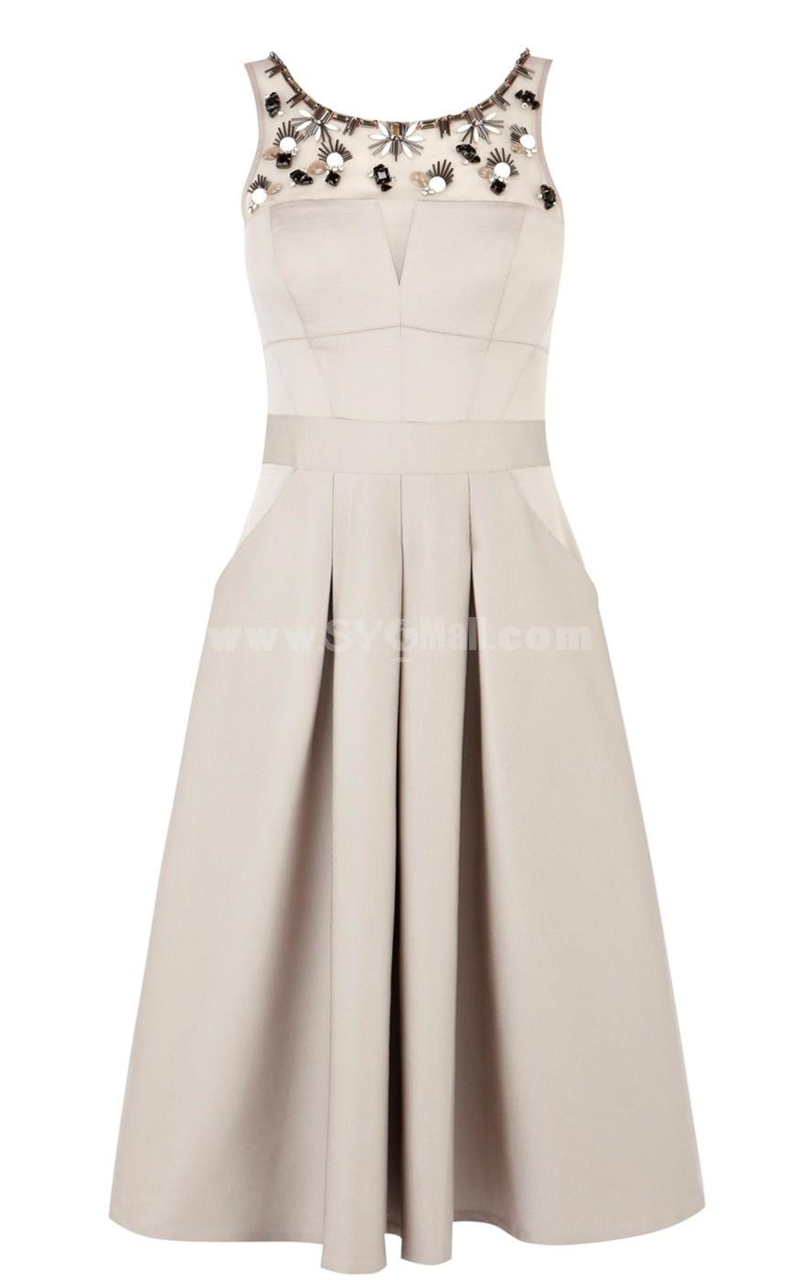 KM Bead Decoration Slim Dress Evening Dress DQ089