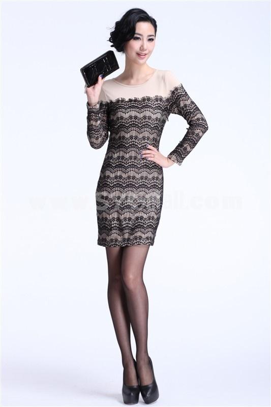 KM Sexy Lace Long Sleeve Dress Evening Dress