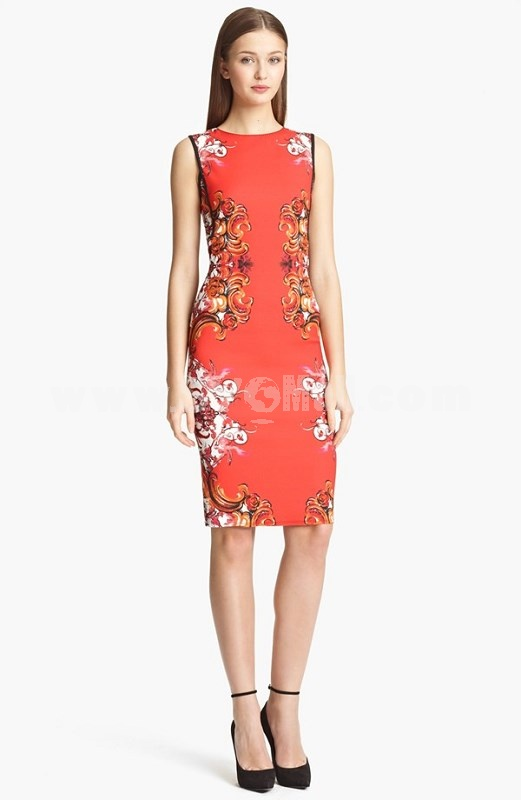 KM Natational Style Flower Printing Dress Evening Dress