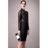 Wholesale - Leapard Long Sleeve Sexy Dress Evening Dress