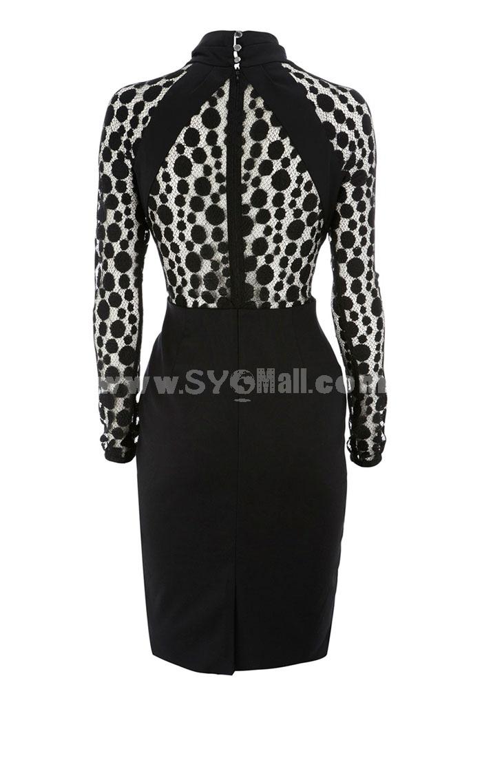 Leapard Long Sleeve Sexy Dress Evening Dress