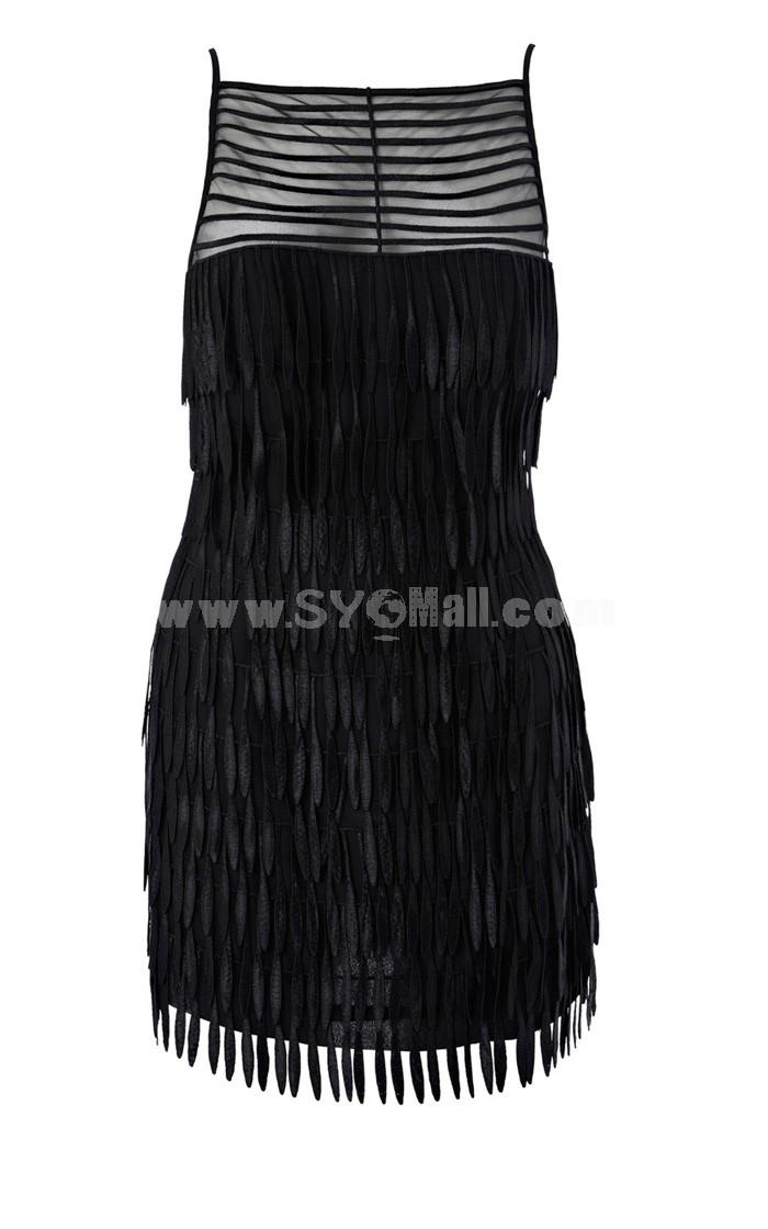 Black Sexy Tassels Decoration Dress Evening Dress