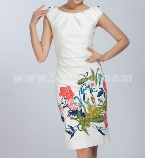 AS New Arrival Chinese Style Printing Slim Dress Evening Dress DR106