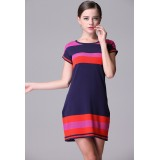 Wholesale - AS Color Contrast Knitting Dress Evening Dress ML13714