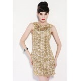 Wholesale - Luxury Gold Thread Embroidery Sleeveless Slim Dress Evening Dress