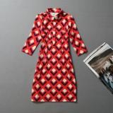 Wholesale - Fifth Sleeve Rhombus Printing Dress Evening Dress