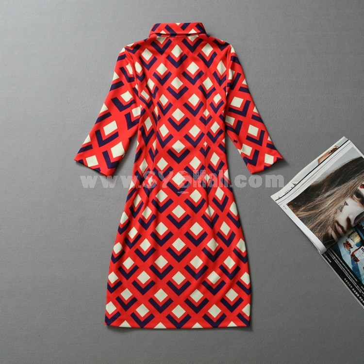 Fifth Sleeve Rhombus Printing Dress Evening Dress
