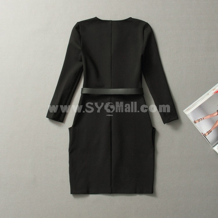 Dolman Design V-neck Long Sleeve Slim Dress Evening Dress