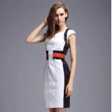 Wholesale - OL Simple Design Short Sleeve Slim Dress Evening Dress DK077
