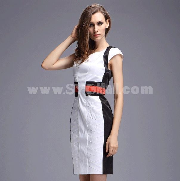 OL Simple Design Short Sleeve Slim Dress Evening Dress DK077