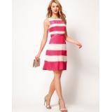 Wholesale - Colorful Stripes Slim Dress Evening Dress 3820