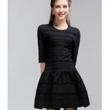 Wholesale - Solid Color Seventh Sleeve Slim Bottoming Dress Evening Dress