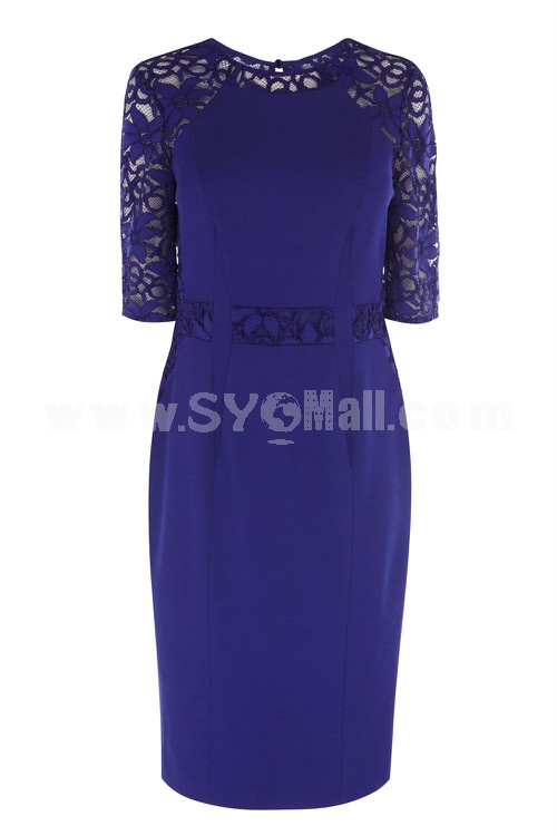 2013 New Arrival Blue Color Lace Embroidery Slim Dress Evening Dress